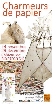 Affiche de l'Exposion Charmeurs de papier, Pôle des métiers d'Art Nontron