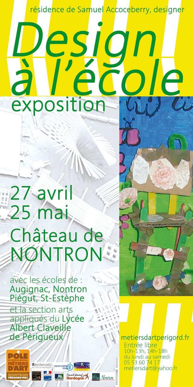 Design à l'école – exposition de travaux d'élèves, résidence de Samuel Accoceberry