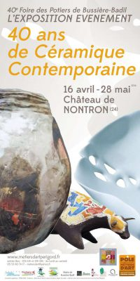 Affiche de l'Exposition 40 ans de céramique contemporaine printemps 2016