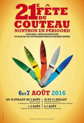 Affiche de la 21ème fête du couteau à Nontron Août 2016