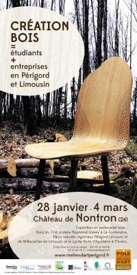 Affiche de Création bois, étudiants + entreprises en Périgord et Limousin, exposition