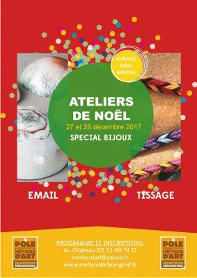 Affiche des ateliers de Noël spécial bijoux au Pôle des Métiers d'Art de Nontron