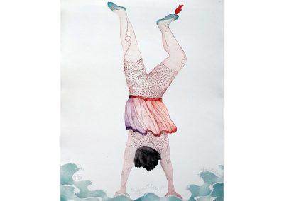 gravure en eau forte, personnage en équilibre, Charlotte REINE