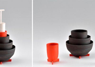 Poterie en céramique, selon le design de Samuel Accoceberry
