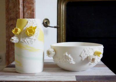 vase et soupière en porcelaine créés par Patricia MASSON, Albedô, Céramiste