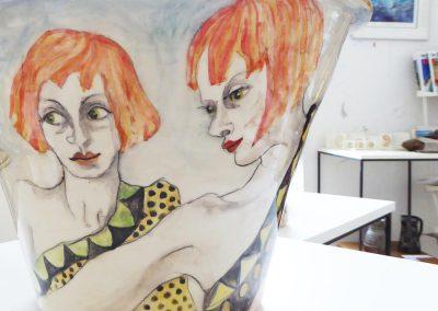 Suzanne WILKS, Atelier Mouche, Décoratrice sur faïence, Les jumelles