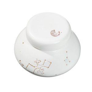 Boîte tournée en porcelaine cuisson électrique et or 24 Ct
