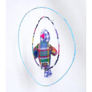 Grand oiseau bleu, mobile en tissu