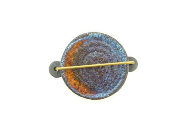 """Boîte """"Sixties"""" en céramique, couvercle bleu et orange"""