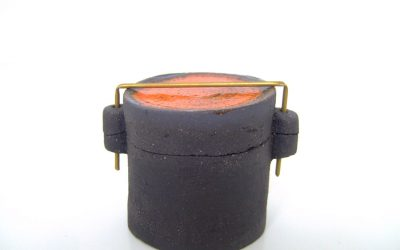 Boîte «Sixties» en céramique, couvercle orange