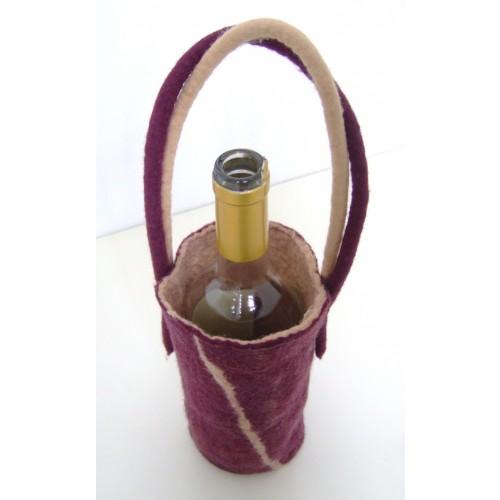 Fourreau de bouteille en feutre à deux anses