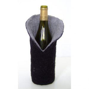 Fourreau de bouteille en feutre gris anthracite
