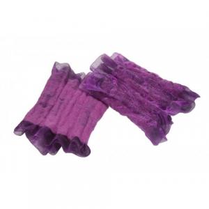 Paire de bracelets mauve en organza et feutre