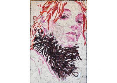 Sandrine Combes, portrait-mosaïque pâte de verre, atelier d'art à Nontron