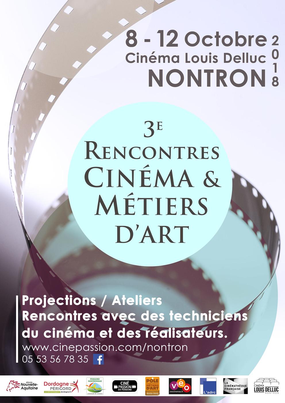 Affiche des Rencontres Cinéma et Métiers d'Art, au cinéma Louis Delluc, à Nontron, 8-12 octobre 2018