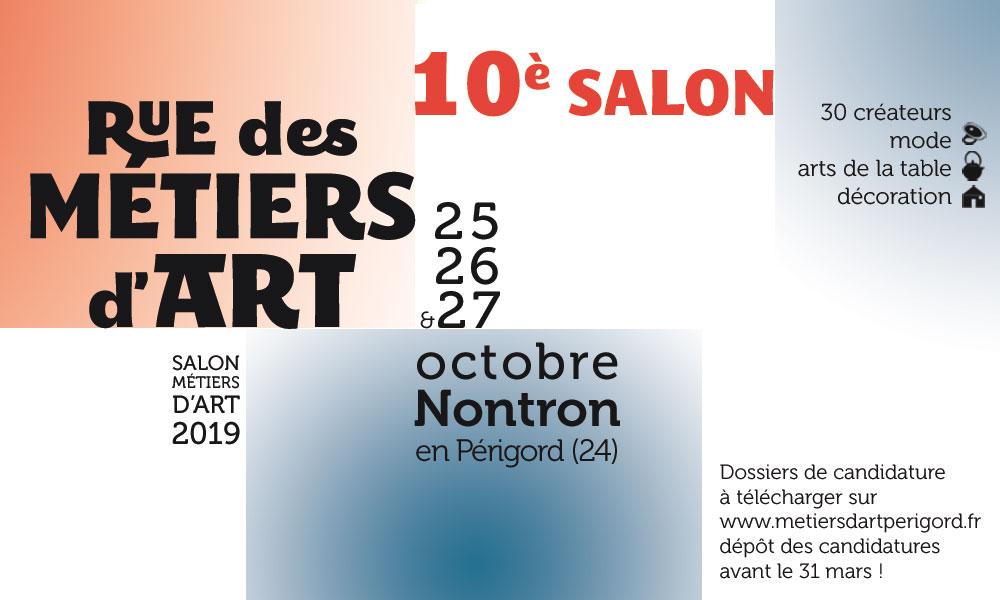 10e Salon Rue des Métiers d'Art à Nontron – 25, 26 et 27 octobre 2019