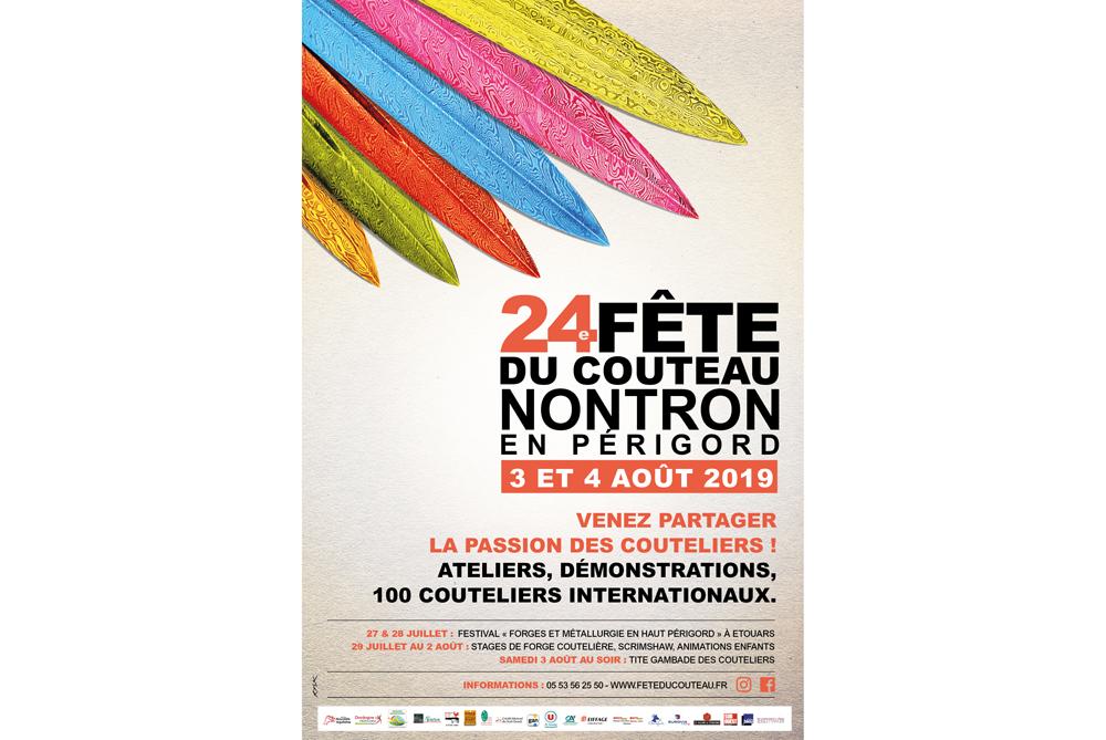 Fête du couteau à Nontron - 3 et 4 août 2019 - salon en Dordogne-Périgord, affiche