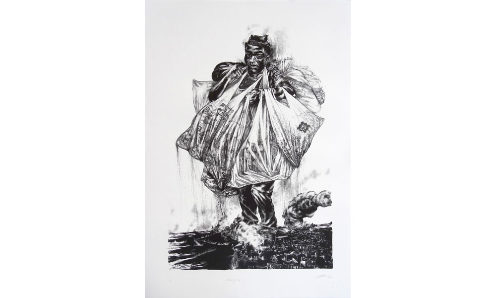 Diane Victor, Waste Collector, lithographie. ©Atelier le Grand Village.
