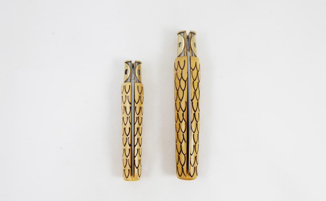 """Couteaux """"Petit duc"""" et """"Grand duc"""" - design Studio Monsieur pour la Coutellerie Nontronnaise dans le cadres des Residence de l'Art en Dordogne avec le PEMA"""