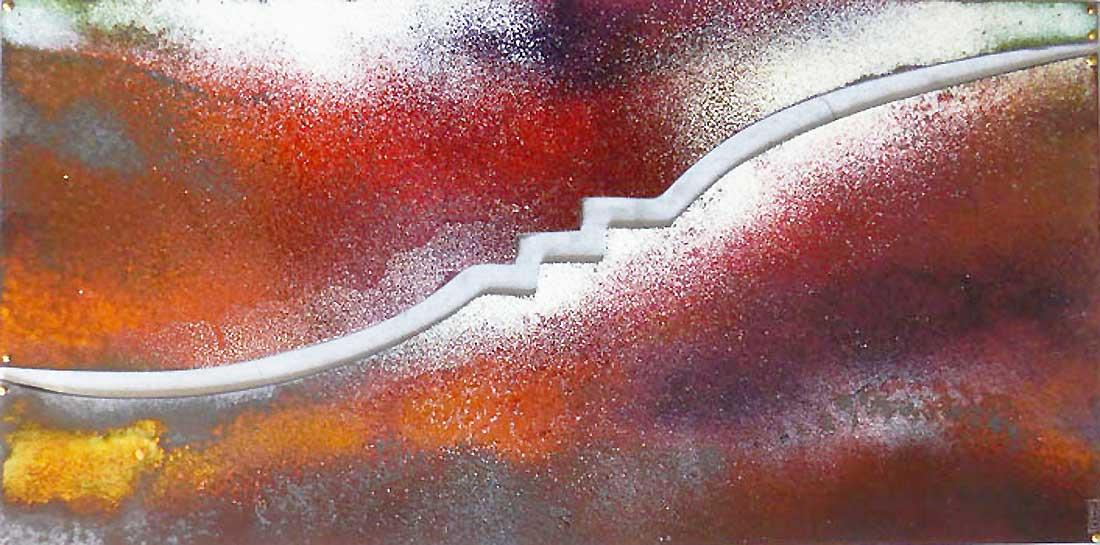 Signe en cuivre émaillé monté sur plaque de zinc réalisé par Natacha Baluteau - Itinérance nontronnaise, les signes métiers d'art