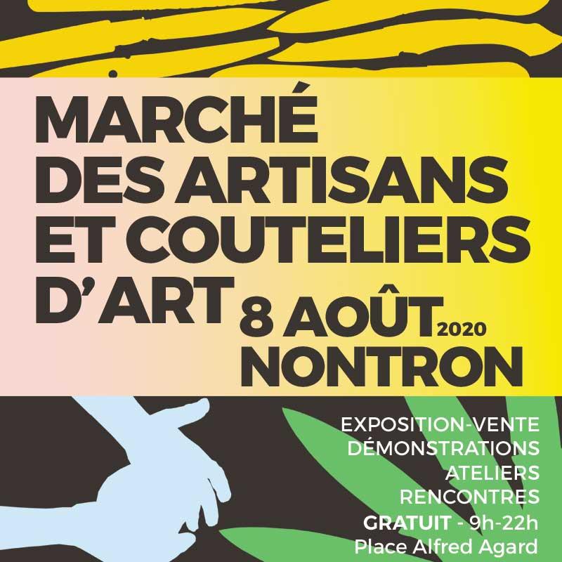 Marché des artisans et couteliers d'art à Nontron, samedi 8 août 2020