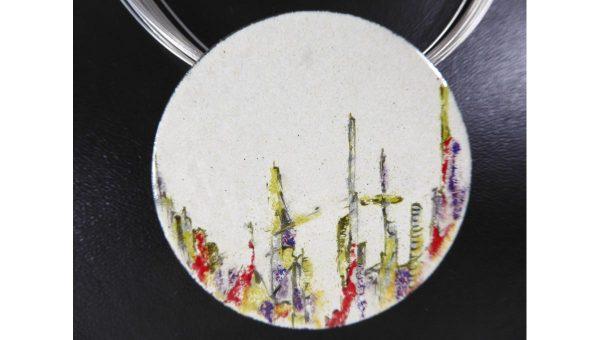 Collier grand disque Paysage - émail - Natacha Baluteau