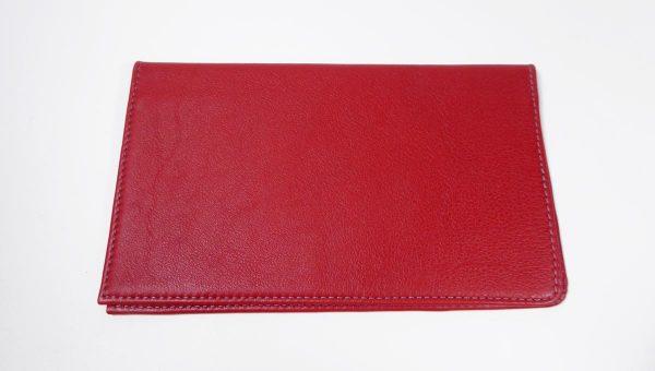 Porte-cartes et chéquier rouge - cuir - Anne Rambaud