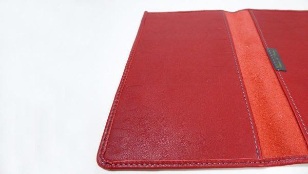 Porte cartes et chéquier rouge - cuir - Anne Rambaud