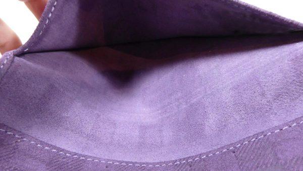 Porte-cartes et chéquier violet -cuir - Anne Rambaud