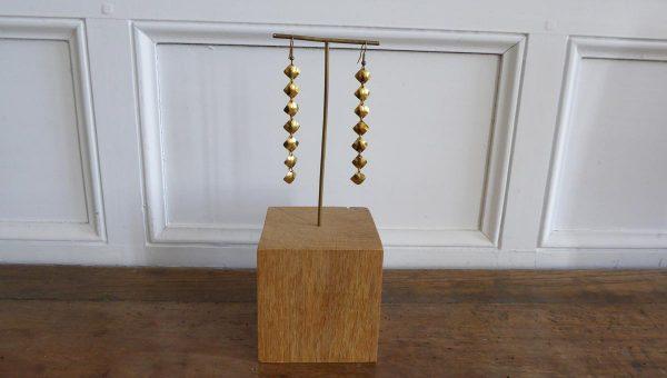 Boucles d'oreilles losanges - laiton - Marie-Paule Thuaud