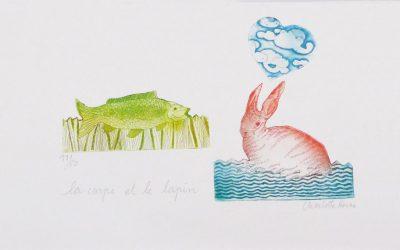 Gravure La carpe et le lapin