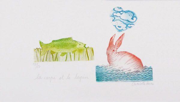Gravure La carpe et le lapin - Charlotte Reine