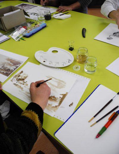 Cours d'aquarelle à l'espace Métiers d'Art de Nontron